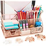 OFFICE ALMIGHTY Rose Gold Desk Organizer for Women: Exclusive Large 6 in 1 Mesh Metal Supplies Organizer with Pen…