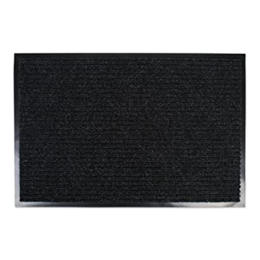 J&M Large Utility Doormat Heavy Duty Durable Indoor/Outdoor Ribbed and Waterproof 30x48  Charcoal Black