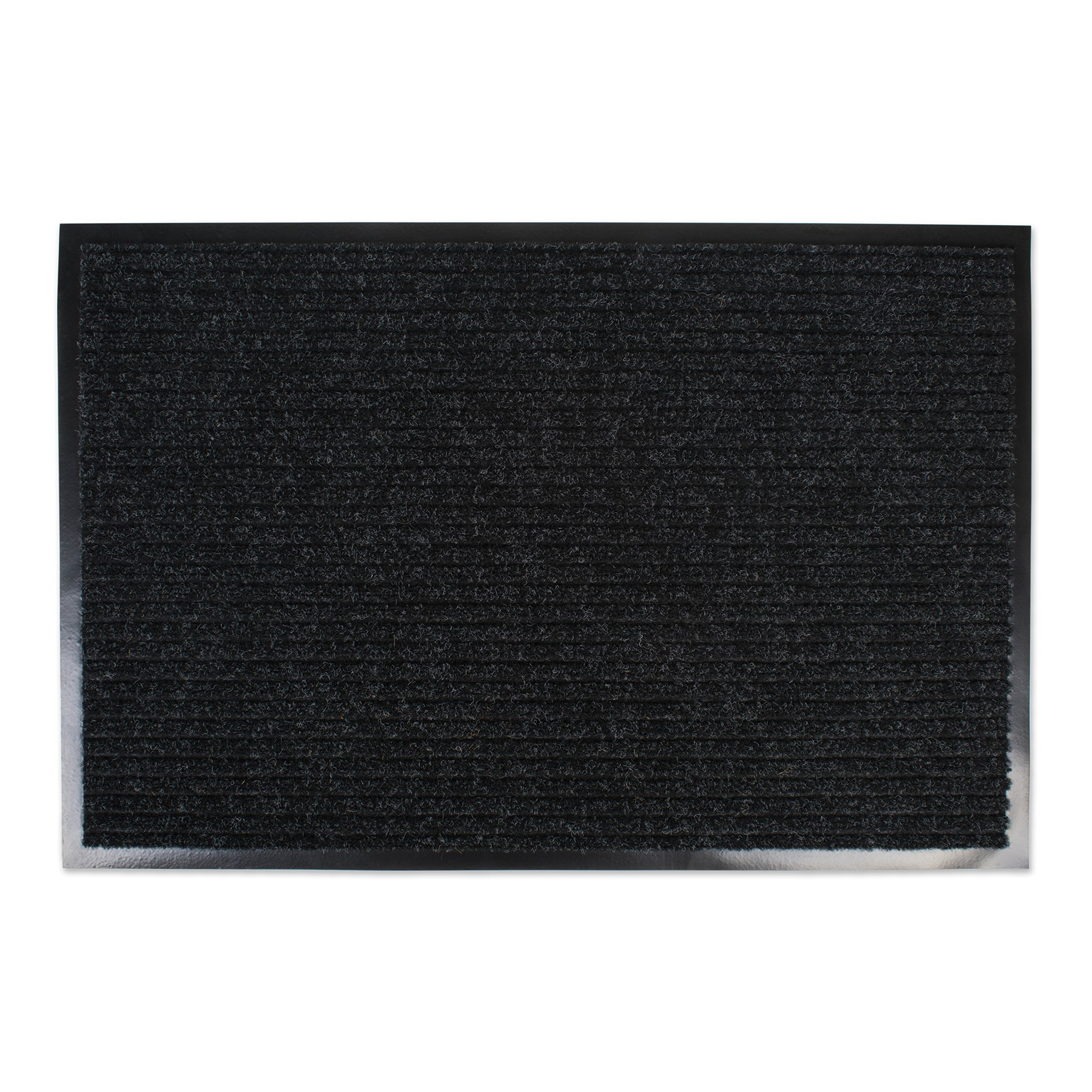 J&M Home Fashions Heavy Duty, Waterproof Ribbed Utility Doormat (24x36 - Charcoal Black) Entry Way Shoes Scraper for Patio, Garage, or Front Door, Trap Dirt, Debris, Mud Outside