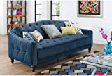 novogratz vintage tufted sofa sleeper ii  navy velour  amazon    dhp metropolitan classic futon lounger   camel      rh   amazon