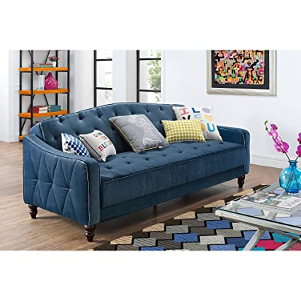 Excellent Amazon.com: Novogratz Vintage Tufted Sofa Sleeper II (Navy Velour  ZJ49