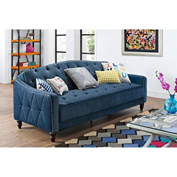 Amazon Com Novogratz Vintage Tufted Sofa Sleeper Ii Navy Velour