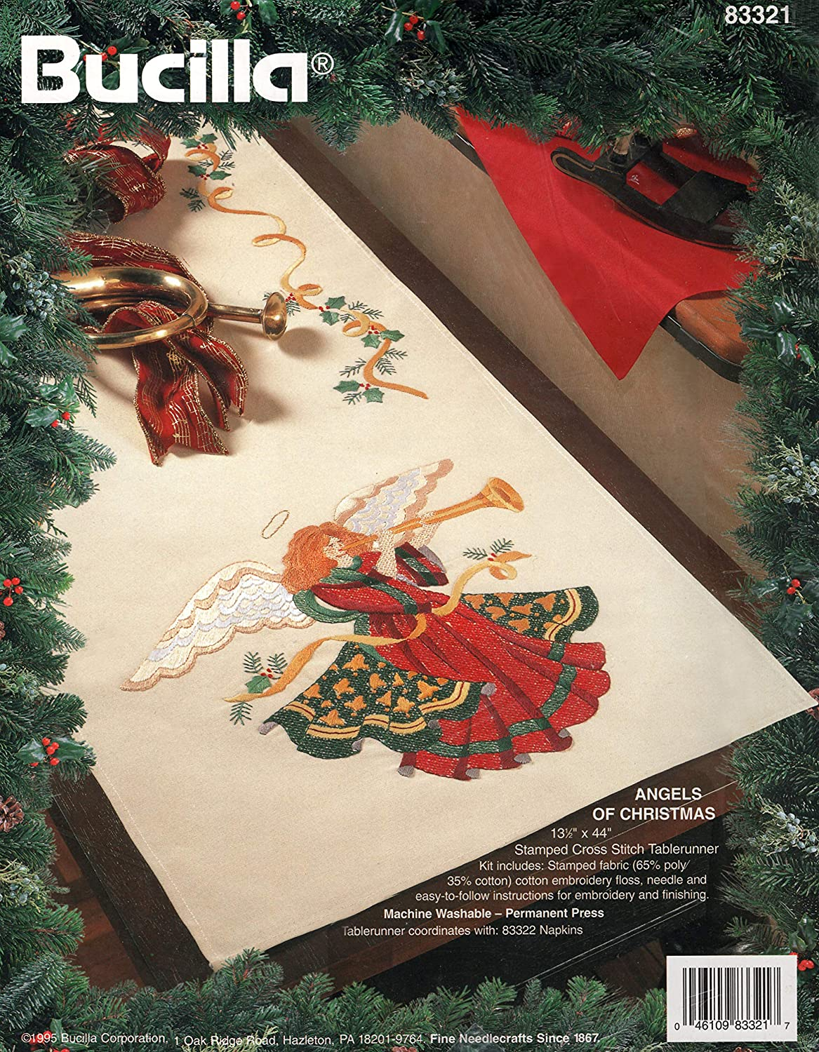 Bucilla Angels of Christmas Stamped Cross Stitch Tablerunner Kit by Bucilla B00CVZY2V0