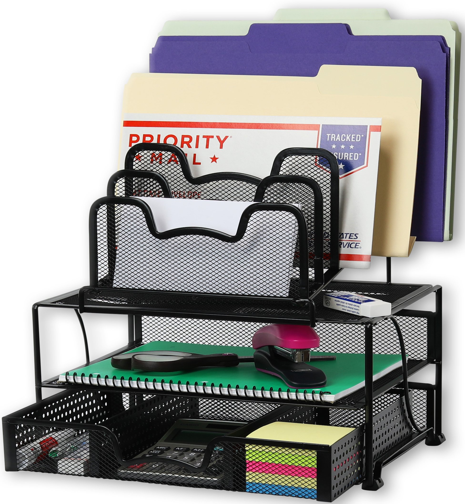 SimpleHouseware Mesh Desk Organizer with Sliding Drawer, Double Tray and 5 Stacking Sorter Sections, Black by Simple Houseware
