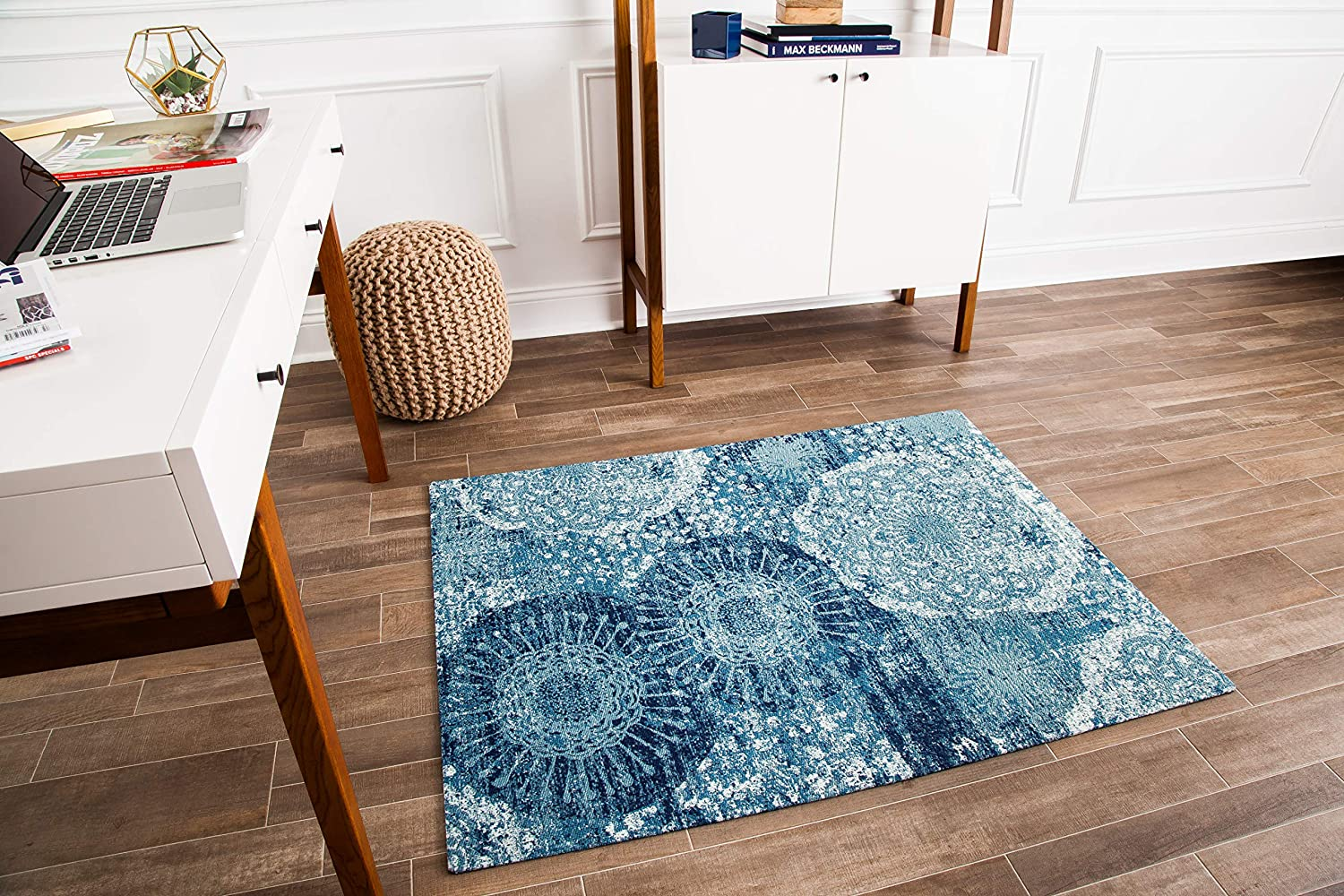 Anji Mountain Chair Mat Rug d Collection, 1 2 Thick – For All Surfaces, Maldives , Distressed Blue Floral