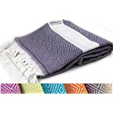 The Riviera Towel Cotton Diamond Print Turkish Towel, Navy