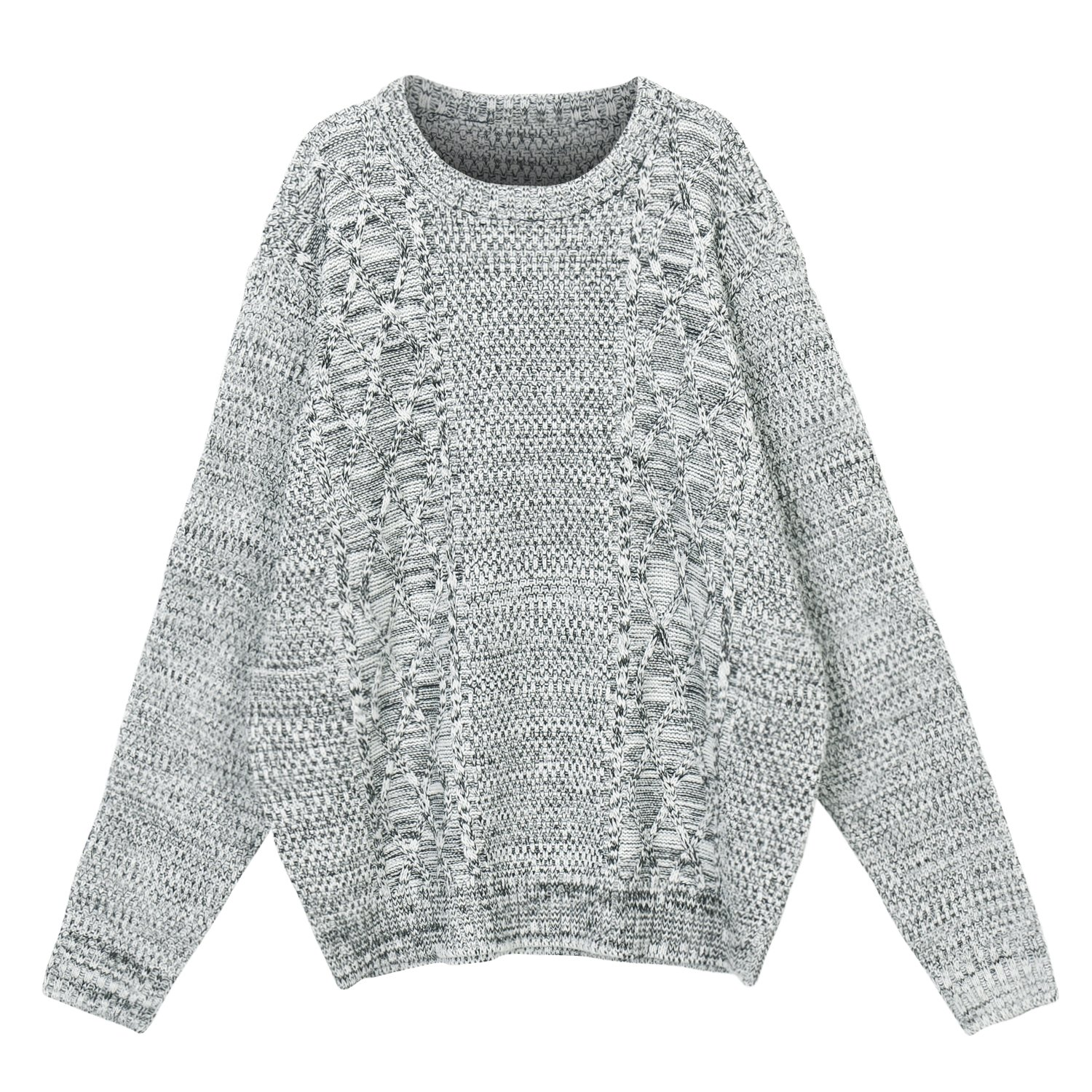 0d187c73e0420d lovely ililily Men Solid Color Long Sleeve Cable Knit Pattern Sweater  Jumper Pullover