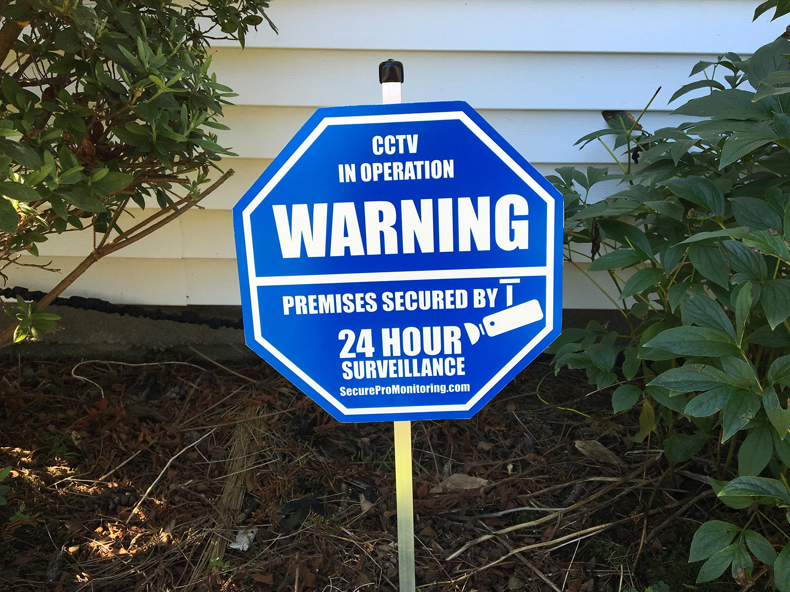 1 ''REAL'' CCTV Security Camera Home Alarm Yard Sign (9'' x 9'') with 36'' Long Post with 6 Security Alarm System Stickers (White & Blue)