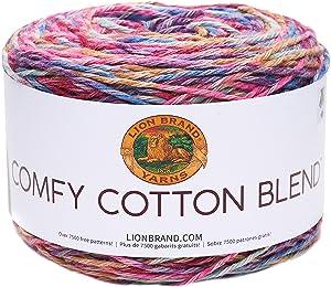 Lion Brand Yarn 756-700 Comfy Cotton Blend Yarn, Flower Garden