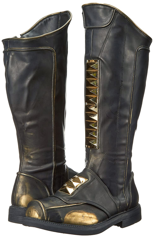 Men's Sky Captain Gold-Tone Trim Black Knee-High Boots