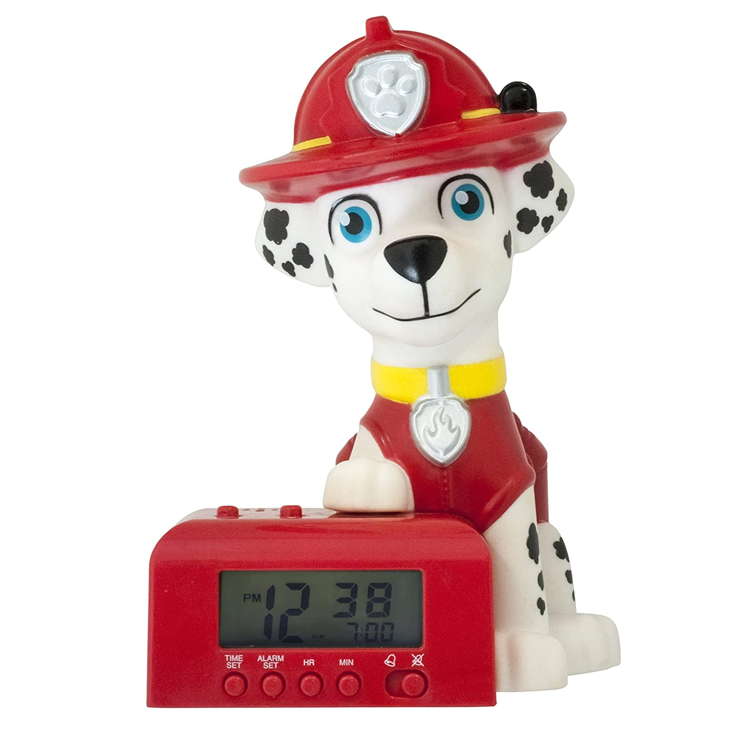 BulbBotz Paw Patrol 2021319 Marshall Kids Night Light Alarm Clock with Characterised Sound, 5.5 inches Tall, Red/White