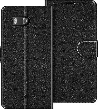 Card Holder Leather Black Magnetic Flip Cover for HTC U11 Life