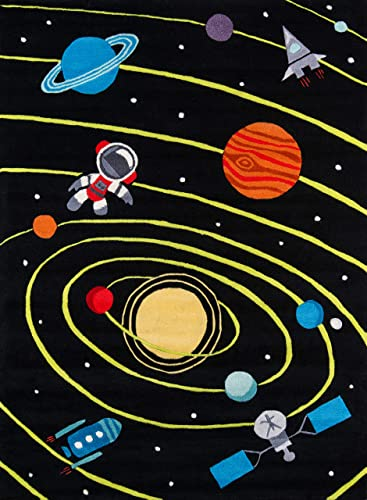 Momeni Rugs Lil Mo Whimsy Collection, Kids Themed Hand Carved Tufted Area Rug, 8 x 10 , Outer Space Black