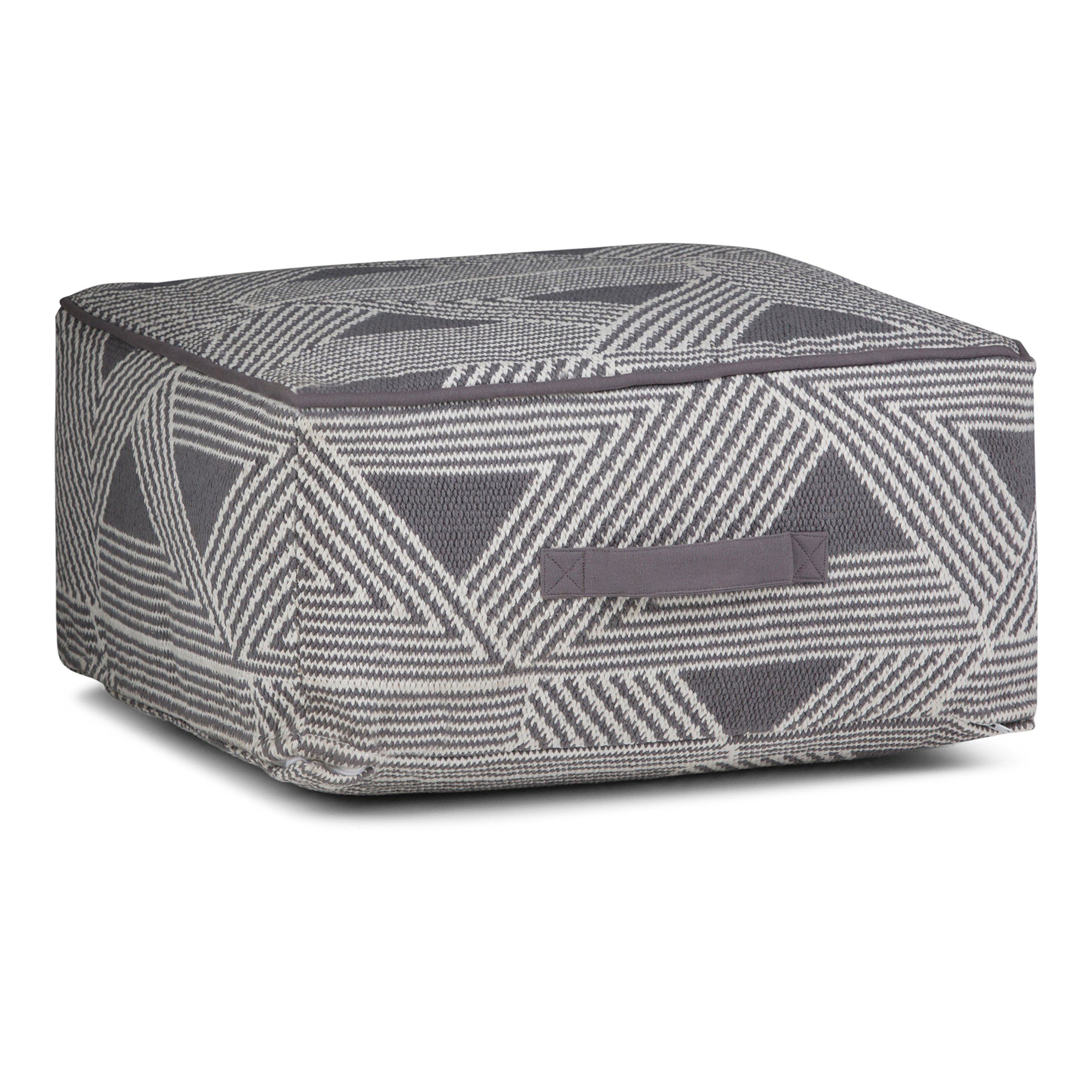 Simpli Home Headley Square Pouf, Patterned White and Grey