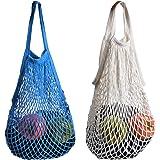 Cosmos ® Cotton Net Shopping Tote Ecology Market String Bag Organizer (White & Blue)
