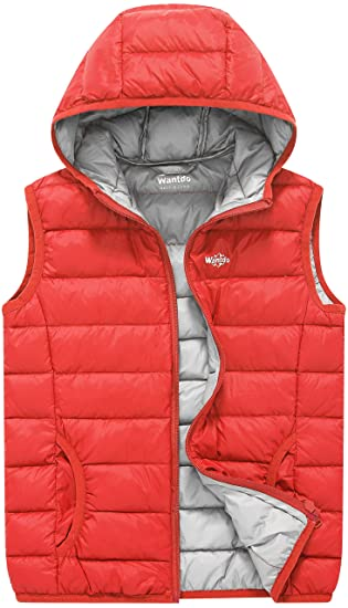 3a30ad9bcc0a9 Wantdo Girl s Packable Puffer Down Vest Hooded Lightweight Sleeveless Jacket  Warm Lily Orange Red ...