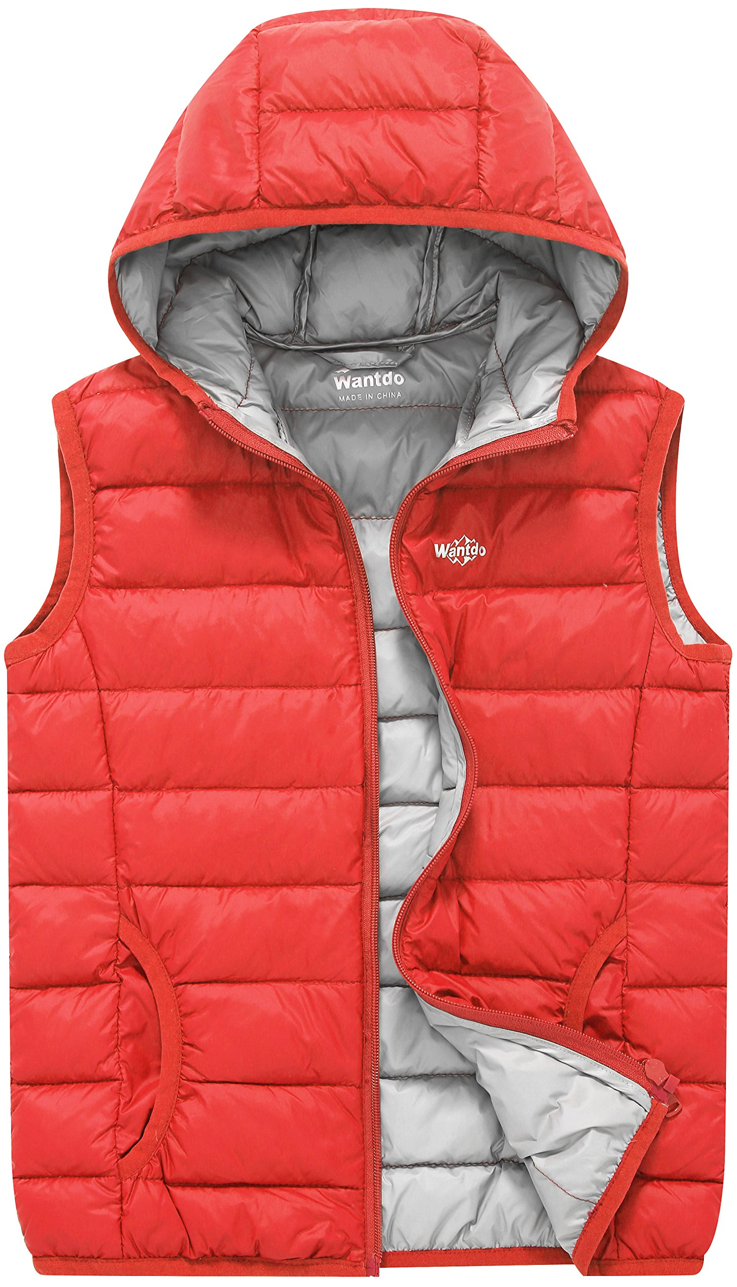 Wantdo Boy's and Girl's Light Weight Puffer Down Vest Winter Coats Hoodie Body Warmer(Lily Orange Red, 10/12)