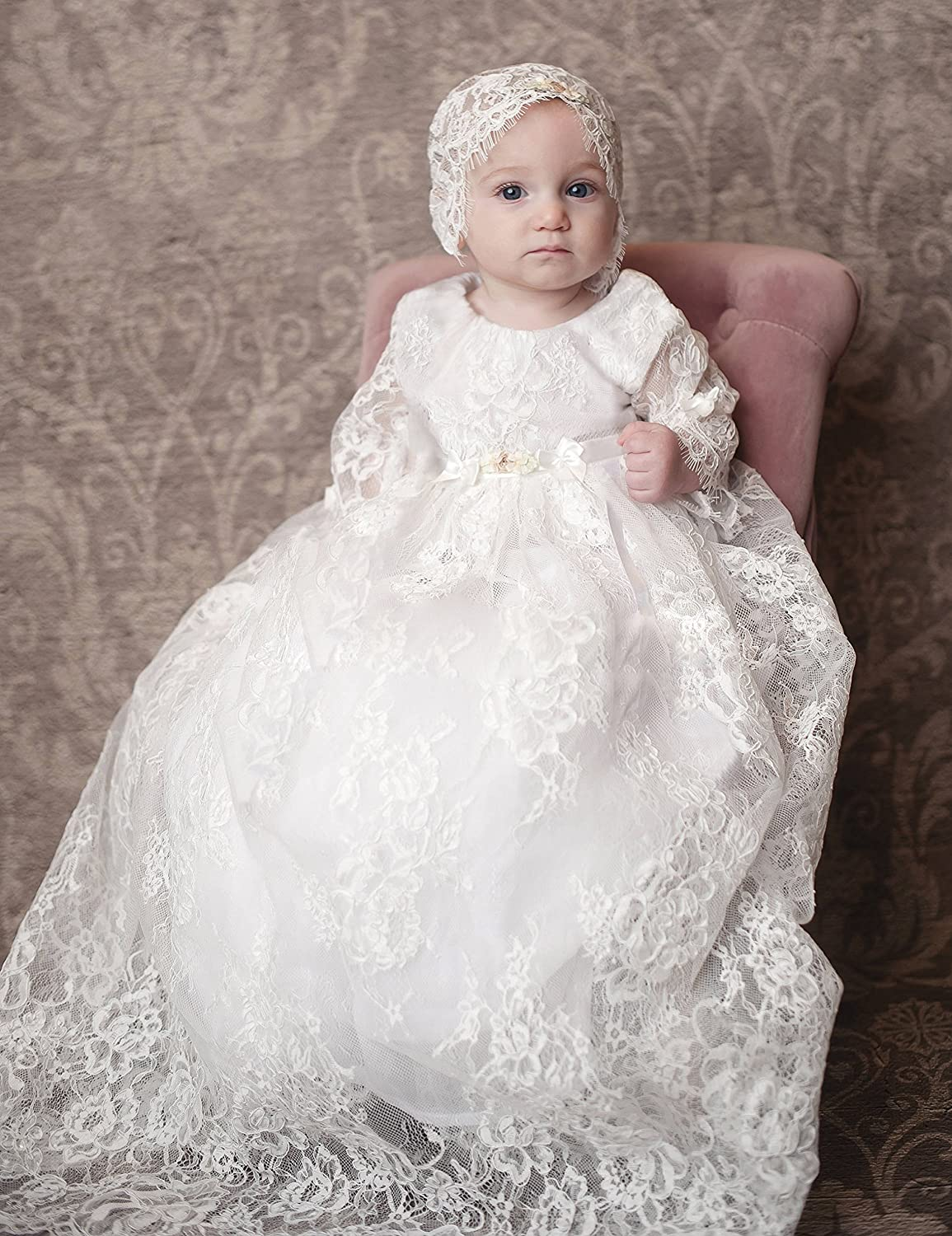 BuyBro Baby-Girls Long Ivory Lace Christening Dress Baptism Gown with Bonnet