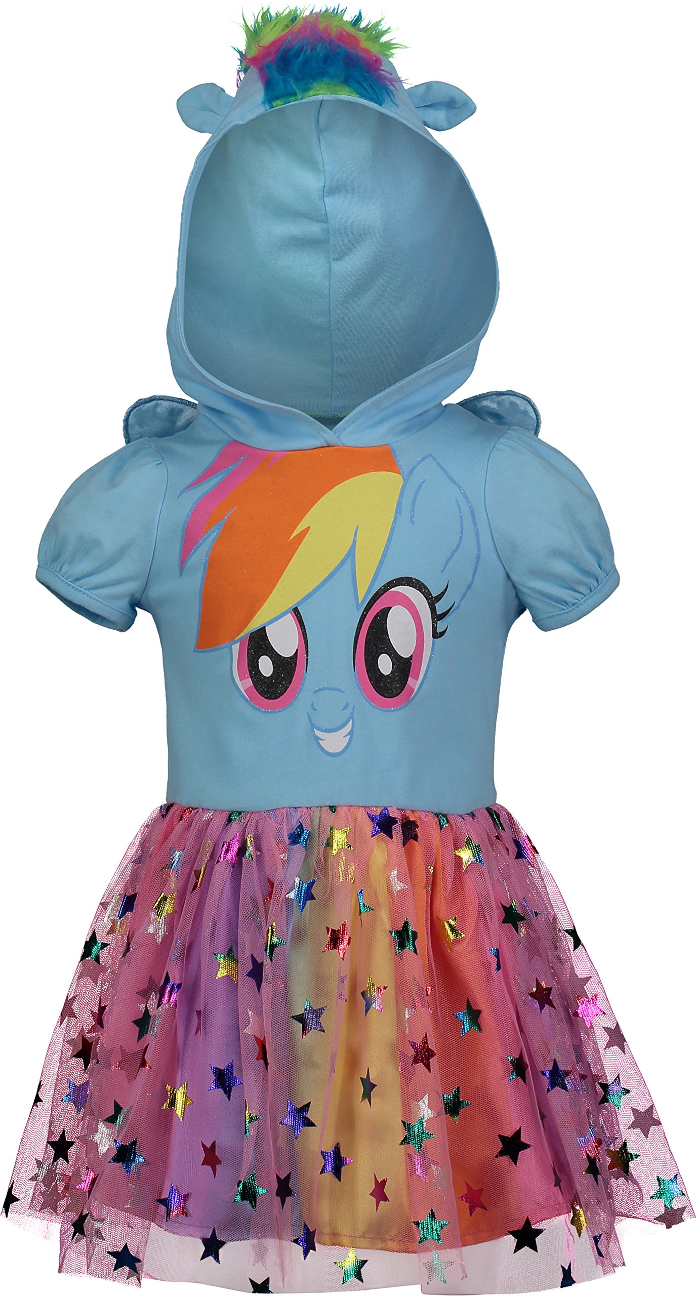 My Little Pony Rainbow Dash Toddler Girls' Costume Dress with Hood and Wings, Blue (4T)