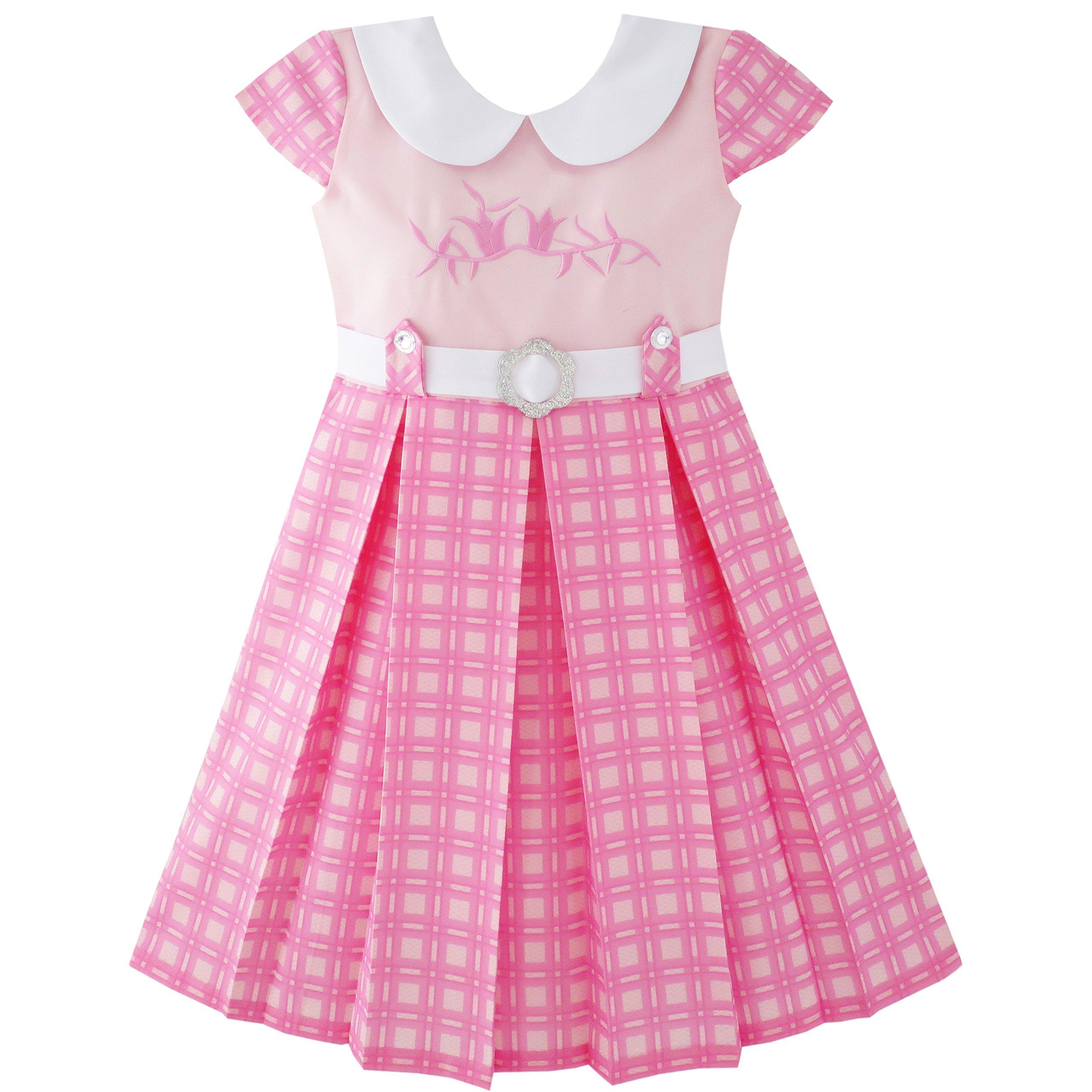 JY35 Girls Dress Pink Belted School Pleated Hem Size 8