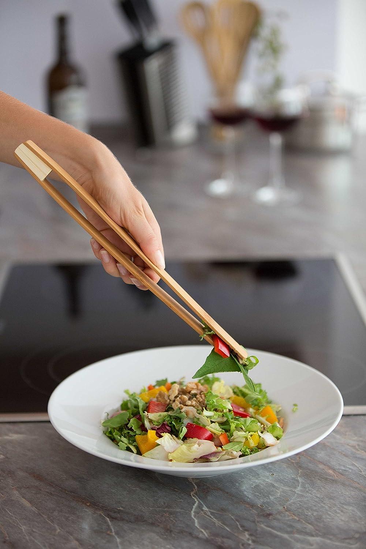 Pinzas de bamb/ú para servir Pinzas de bamb/ú para tostadas ♻ Pinzas de bamb/ú de 30cm ♻ Nuevo dise/ño mejorado Pinzas para fruta Pinza de madera