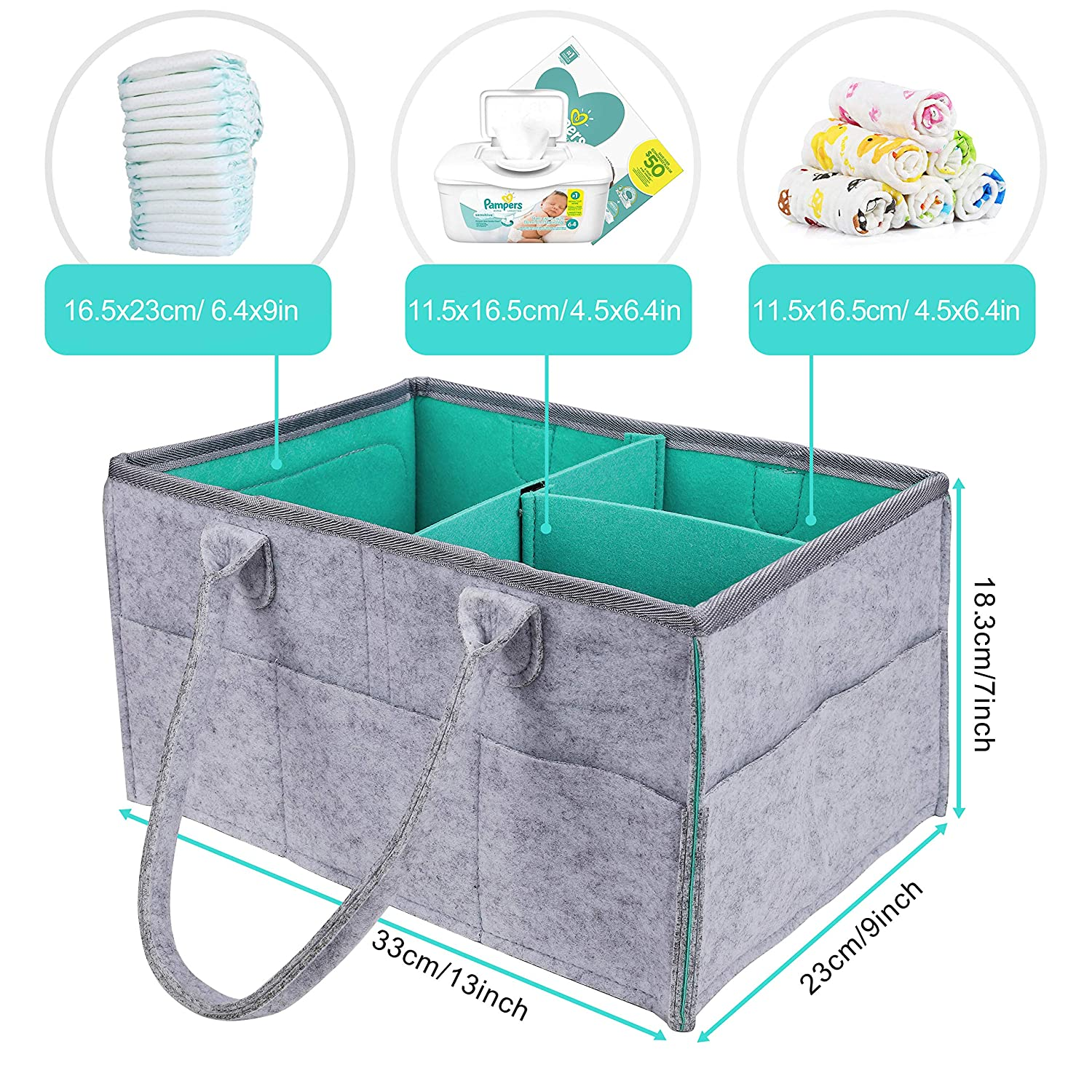 Foldable Basket Nursery Essentials Storage Bin Baby Diaper Caddy Organizer Grey Large Care Holder Wipes Bag with Removable Partitions for Changing Table Car Travel
