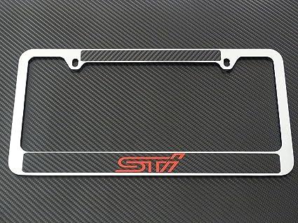 Amazon.com: Subaru sti license plate frame chrome metal,carbon fiber ...