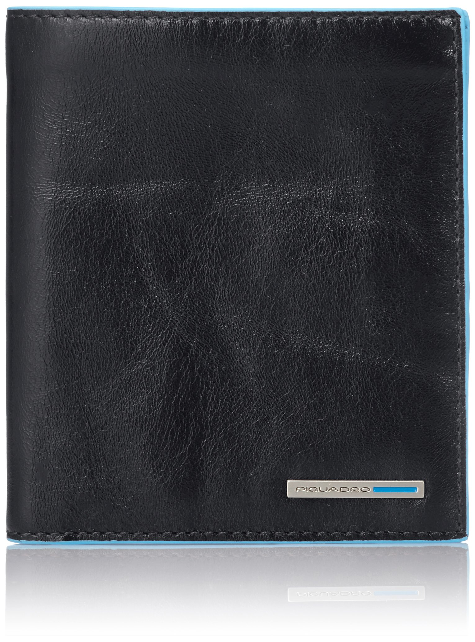 Piquadro Vertical Men's Wallet with Banknote Compartments and Credit Card Slots, Black, One Size