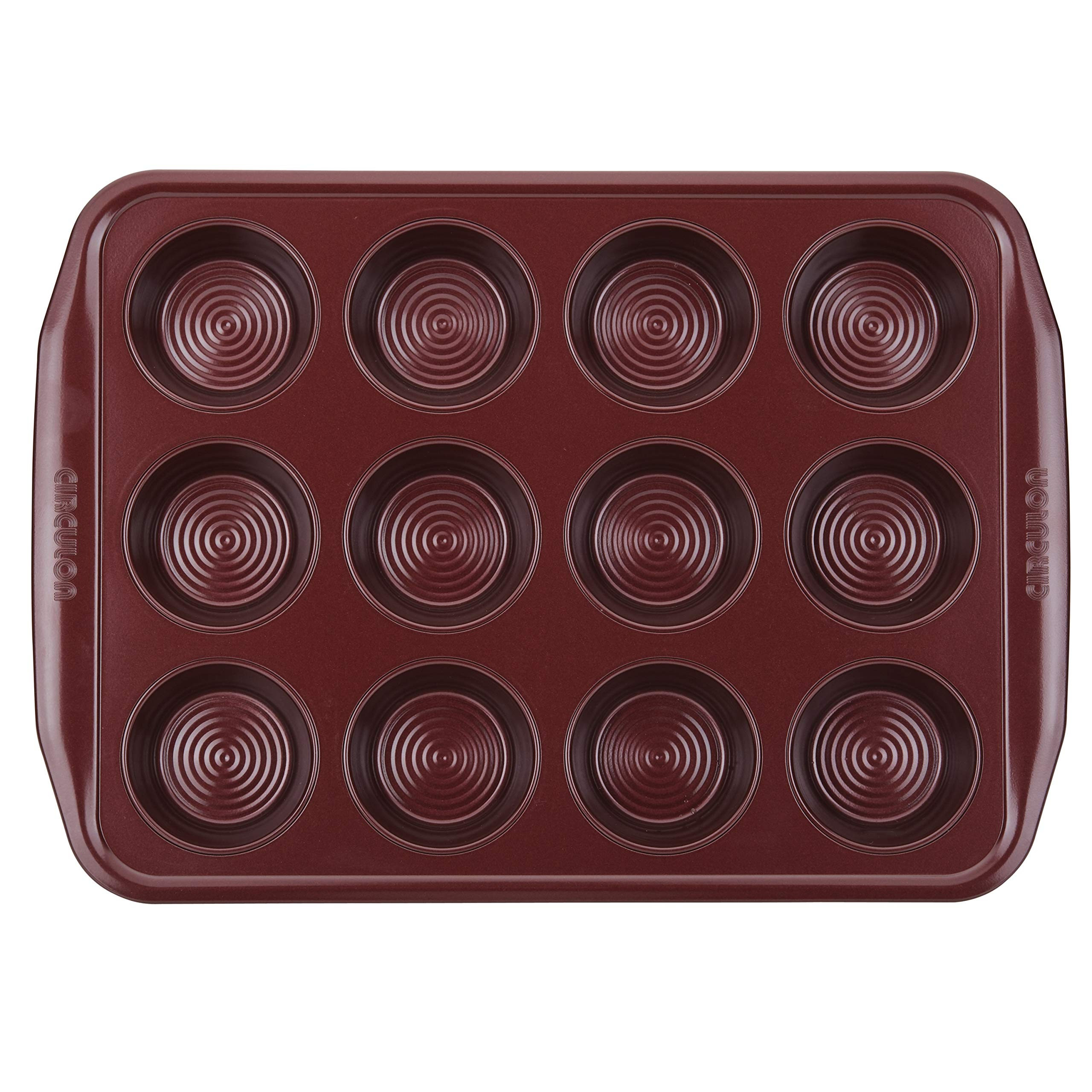 Circulon 47882 12-Cup Steel Muffin Pan, Merlot by Circulon (Image #2)