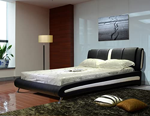Greatime B1040 Queen Two Tone Vinyl Platform Bed