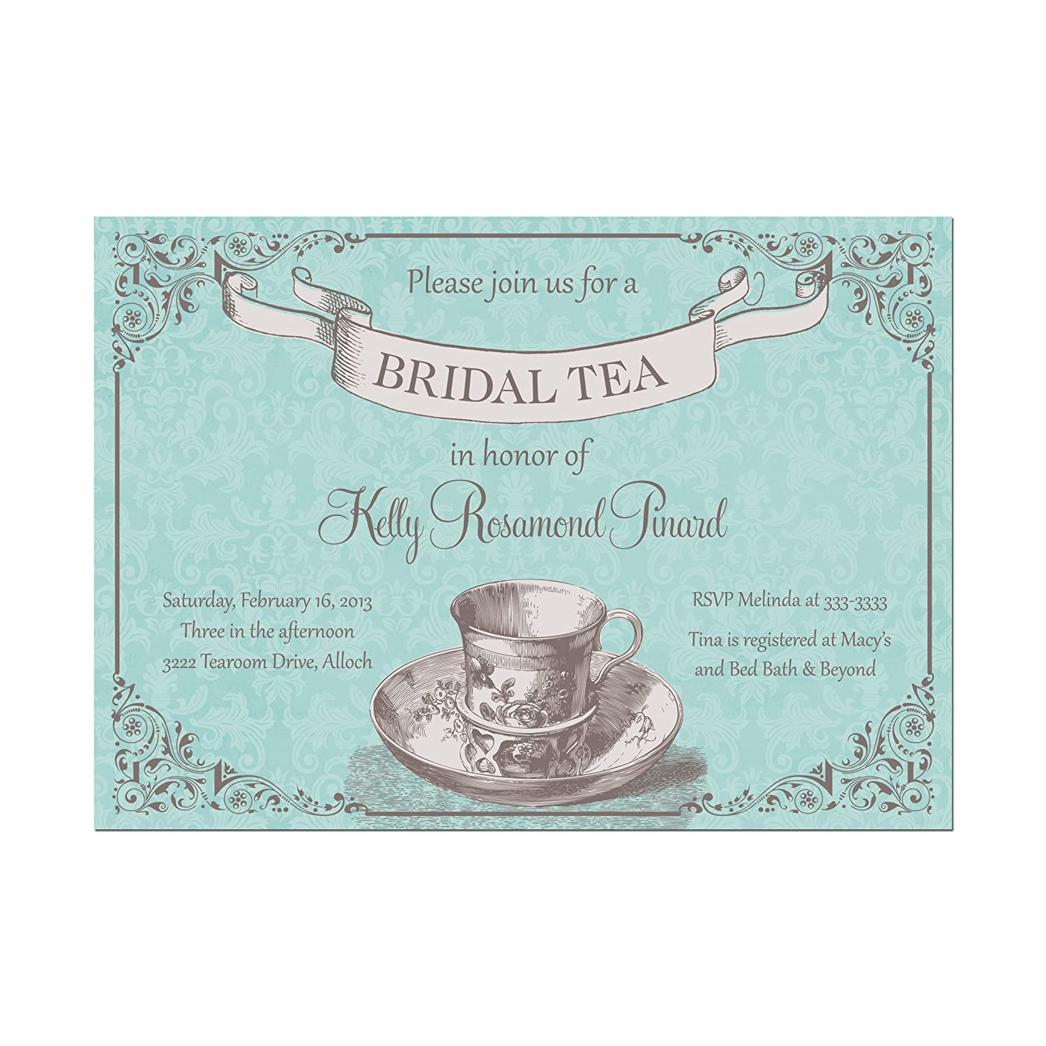 10 x Personalised wedding//evening invitations /& envelopes Country Tea Party