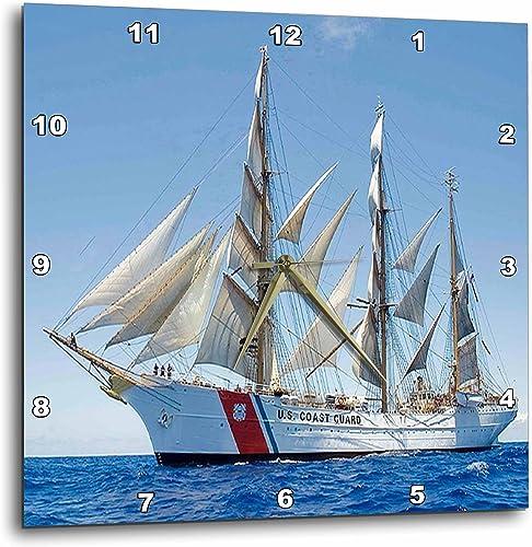 3dRose DPP_205037_2 Print of Coast Guard Boat Wall Clock, 13 by 13