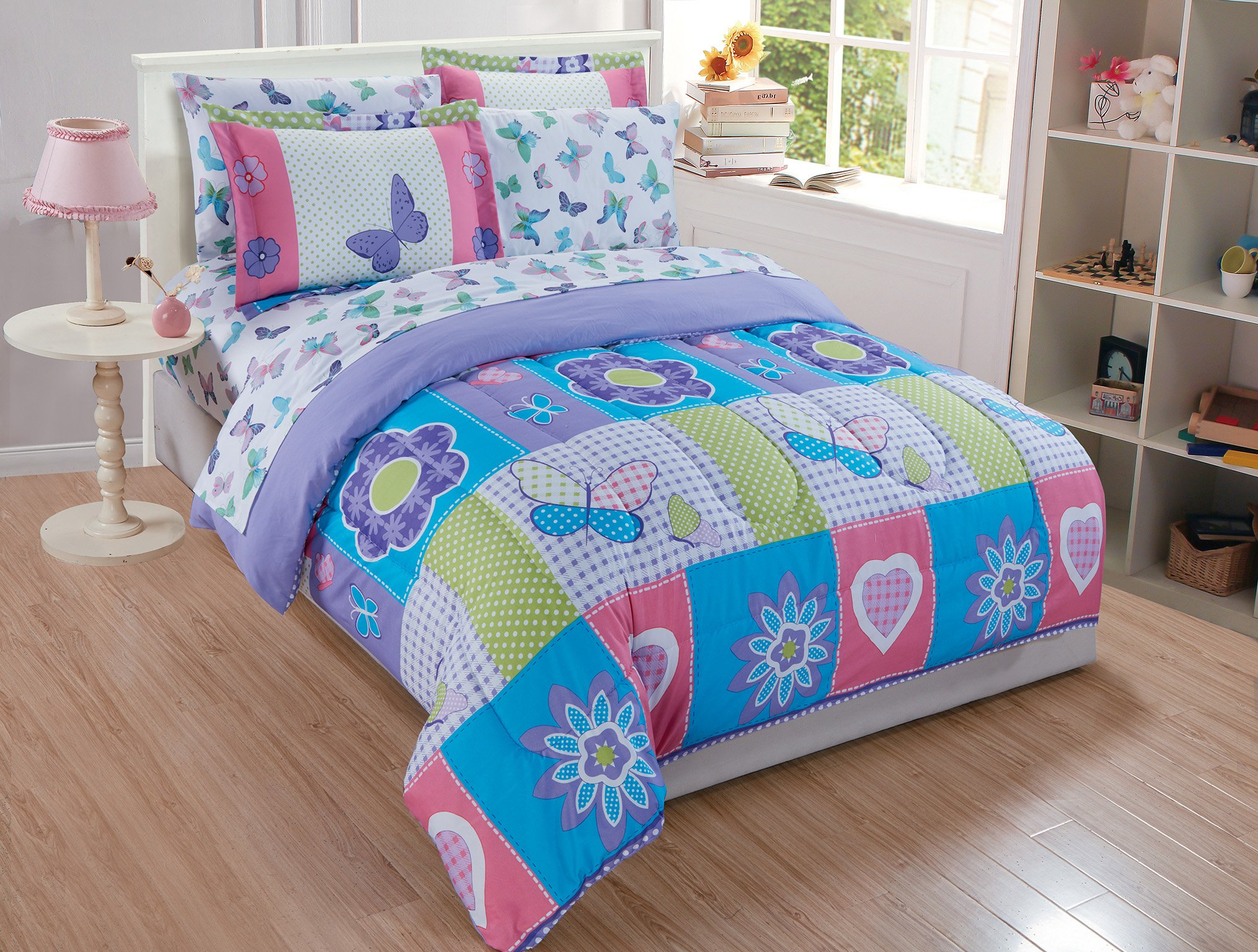 Linen Plus Twin Size 5pc Comforter Set for Girls Butterflies Hearts Flowers Purple Turquoise Pink Green White New