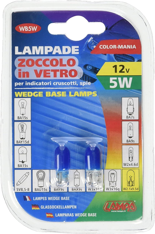LAMPADA CON ZOCCOLO VETRO BLU 12v 5w w2.1x9.5d T10