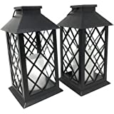 Twin Pack Solar Powered Traditional Candle Lanterns Black with Flickering Light Ideal Garden & Patio Gift Idea