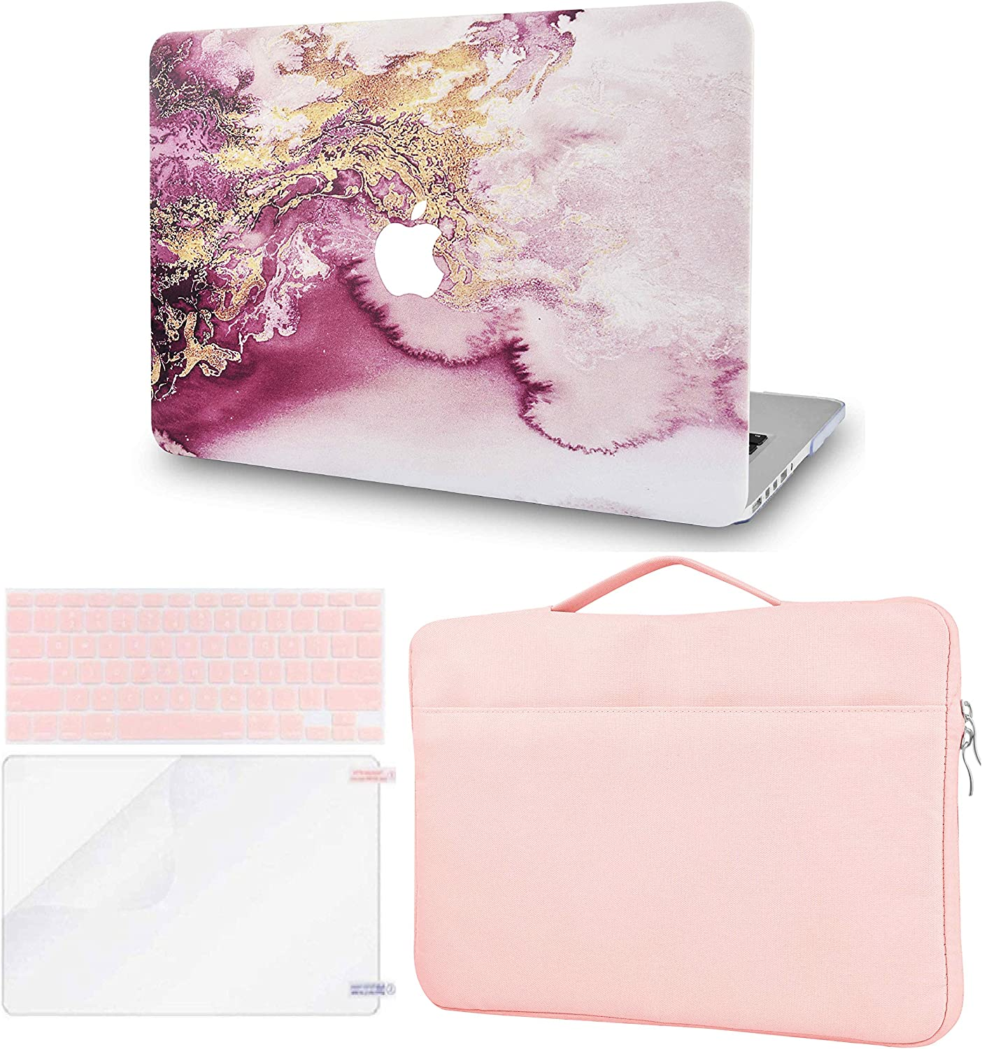 LuvCase 4 in 1 Laptop Case Compatible with MacBookAir 13 Inch (2010-2017) A1466/A1369 (No Touch ID) HardShellCover, Sleeve Bag, Keyboard Cover & Screen Protector (Red Gold Marble)