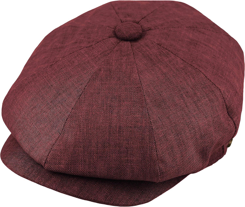 Cool Linen Applejack 8 Panel Summer Newsboy Driving Cap, Snap Button Solid Color Ivy Golf Hat