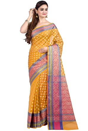 3f219f8129 Chandrakala Women's Gold Cotton Silk Blend Banarasi Saree,Free Size(1080GOL)