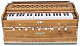 Harmonium Teak Wood by Maharaja Musicals, In USA, 3 1/2 Octave, 9 Stops, Special Double Reed, Coupler, Natural Color, Standard, Book, Padded Bag, A440 Tuned, Musical Instrument Indian