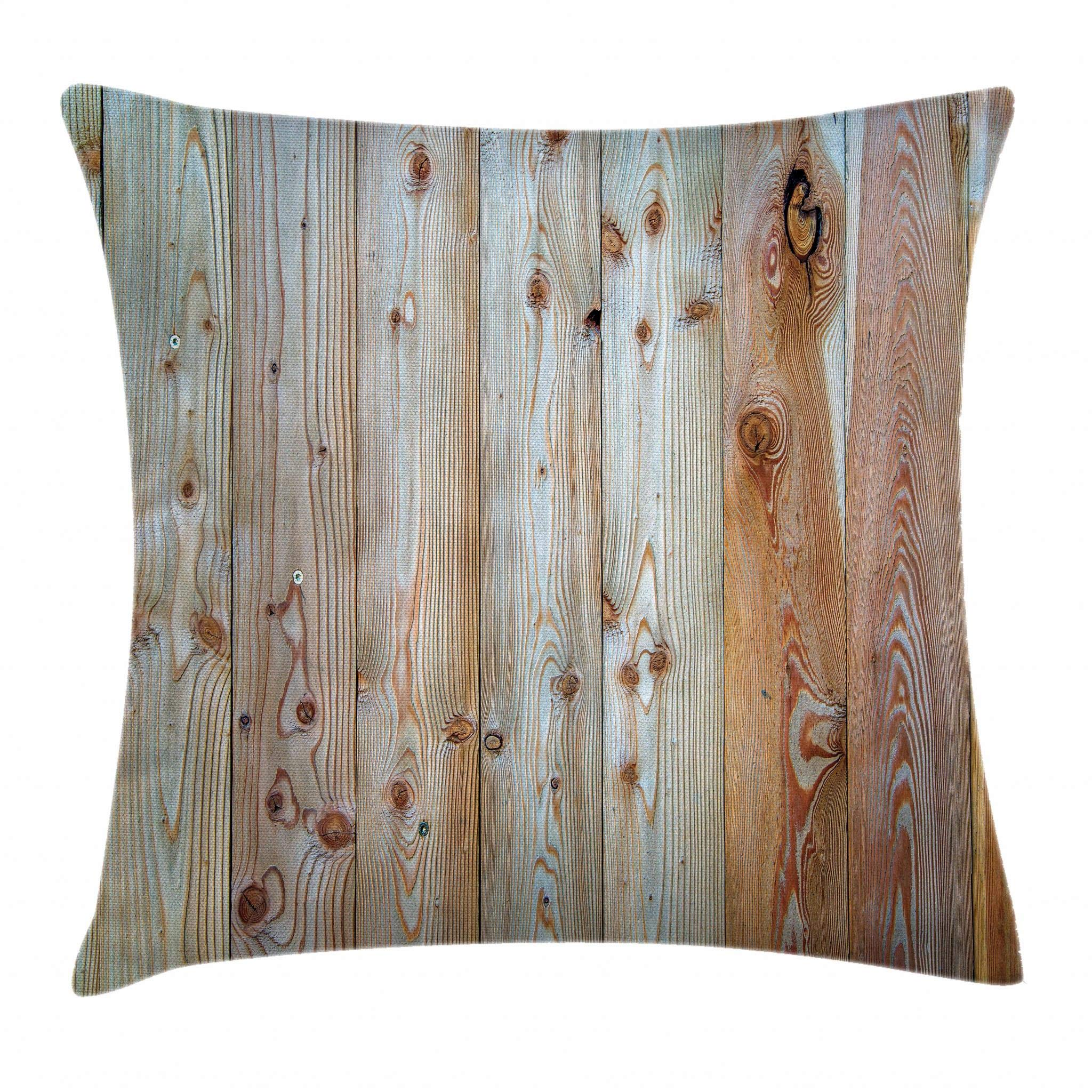 Ambesonne Rustic Throw Pillow Cushion Cover, Monochrome Wood Design Minimalist Rough Rustic Tiled Logs Row Plank Surface Texture Image, Decorative Square Accent Pillow Case, 20 X 20 Inches, Cream