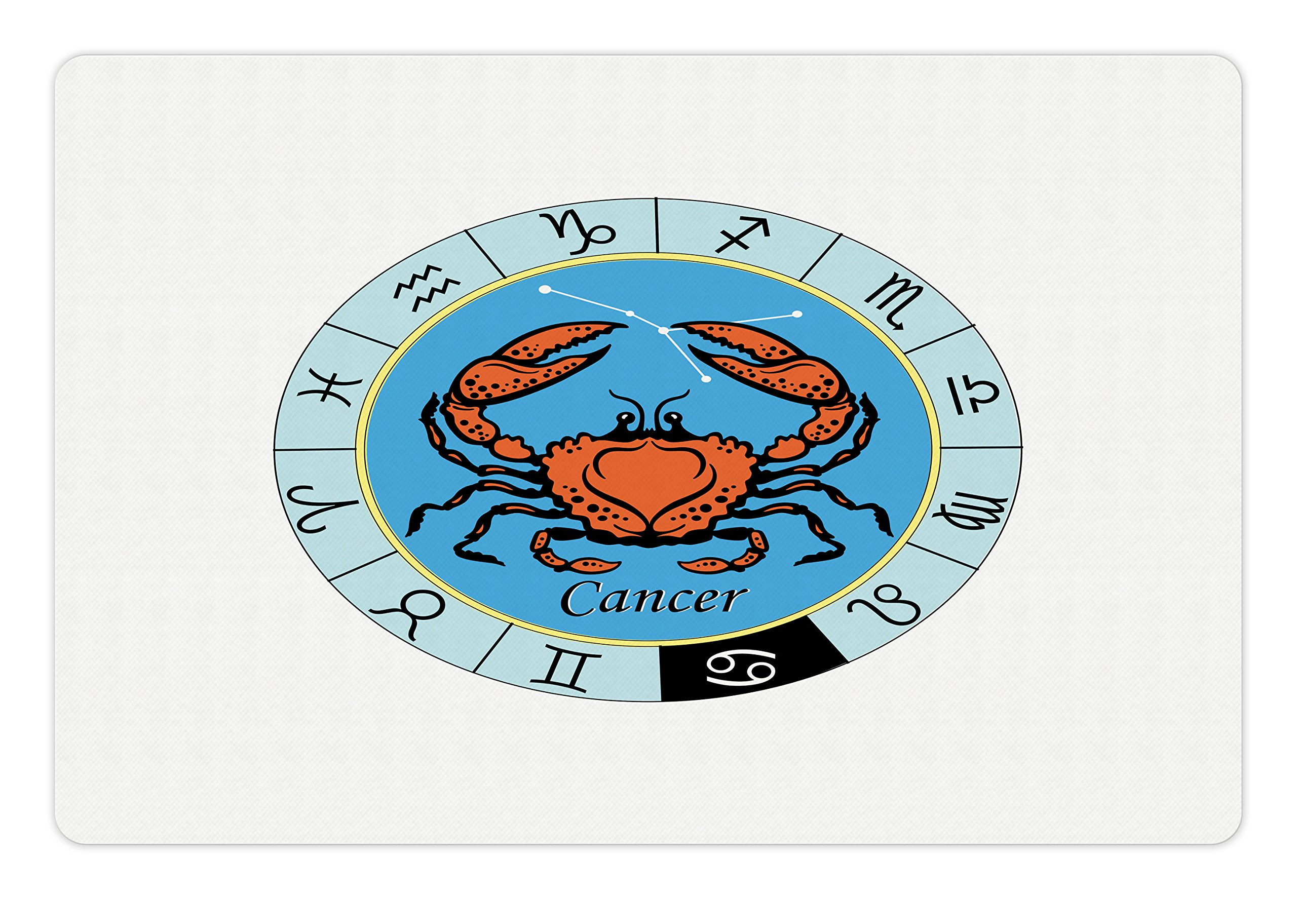 Lunarable Zodiac Cancer Pet Mat for Food and Water, Crab Motif with Star Constellation Design Sea Animal Horoscope Illustration, Rectangle Non-Slip Rubber Mat for Dogs and Cats, Multicolor