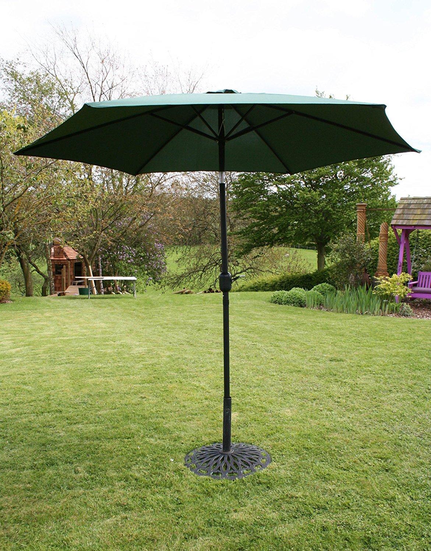 Garden Haven ® 2.7m Metal Garden Patio Umbrella Parasol with Crank and 38mm Tilt Pole - Dark green