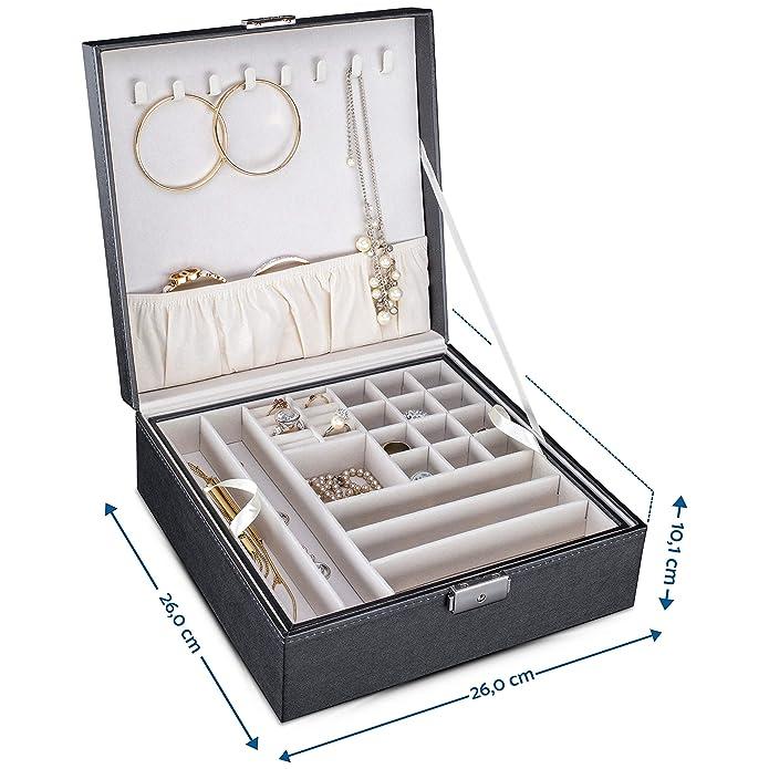 TRESKO® Caja Estuche para Bisutería, Joyas | Joyero con Cerradura – 30 Compartimentos, 8 Ganchos para Collares y Anillero Organizador para 8 Sortijas ...