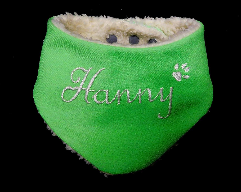 LunaChild Individuelles kuscheliges Hundetuch Größe XS WUNSCHNAME Wendetuch Halstuch Hund Tuch mit Name Hundehalstuch grün creme