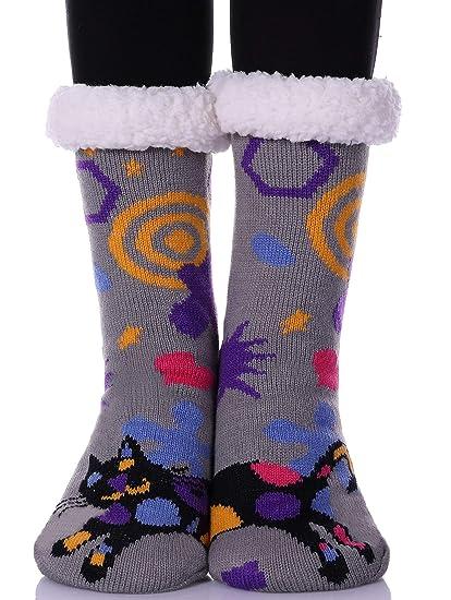 ae562c551b7 YEBING Women s Cute Knit Cartoon Animal Face Soft Warm Fuzzy Fleece Lining Winter  Home Slipper Socks