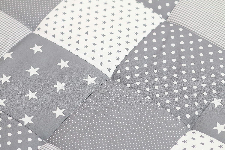 ULLENBOOM /® Baby Krabbeldecke Graue Sterne 100x100 cm Baby Kuscheldecke, ideal als Laufgittereinlage, Spieldecke, Motiv: Punkte, Sterne, Patchwork
