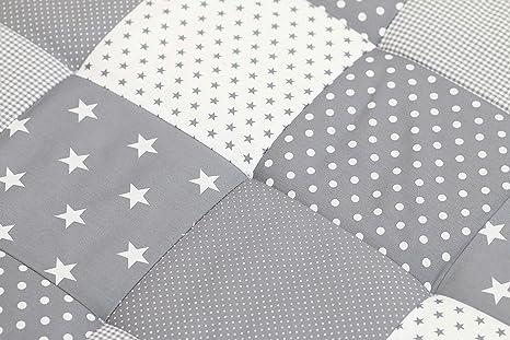 Alfombra para gatear de ULLENBOOM ® con estrellas grises (manta para bebé de 100 x 100 cm; ideal como colcha para el cochecito; apta como alfombra de ...