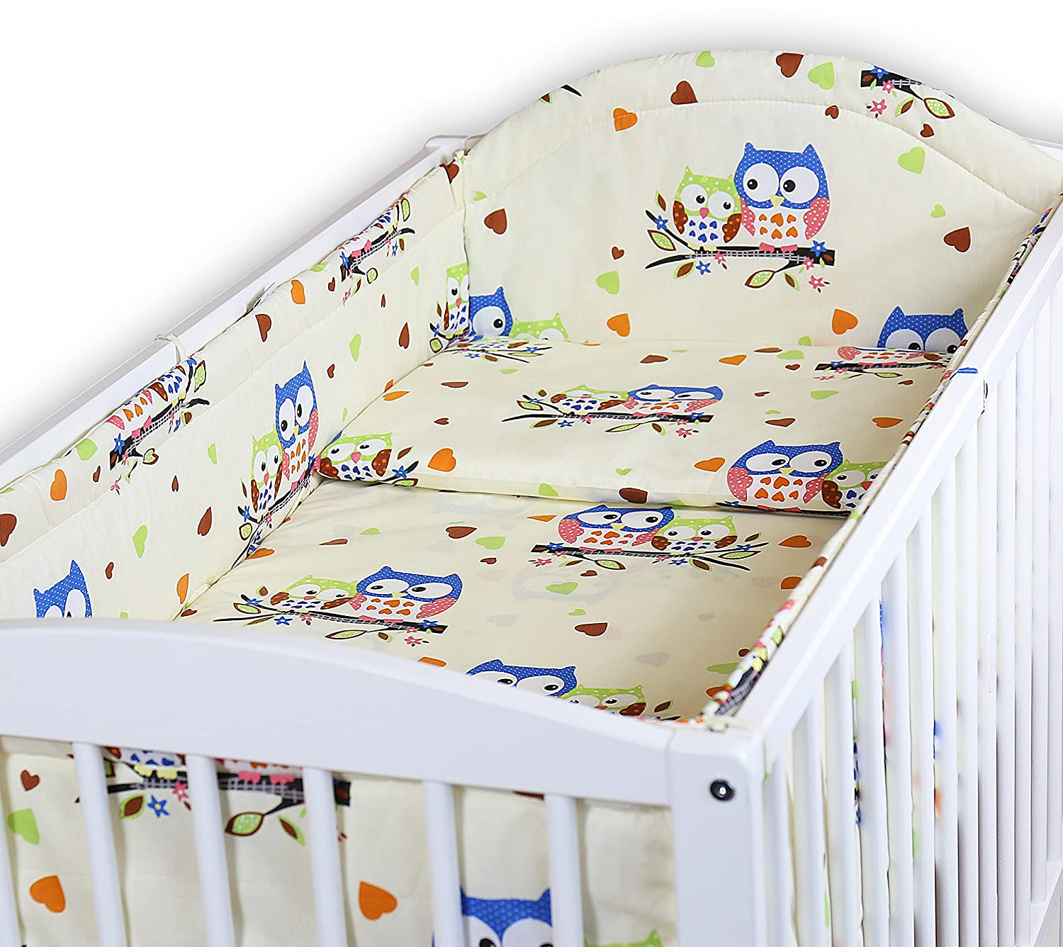 BABY BEDDING SET ALLROUND BUMPER PILLOW DUVET COVER FOR COT 120x60 SET 5 PC OWLS WHITE