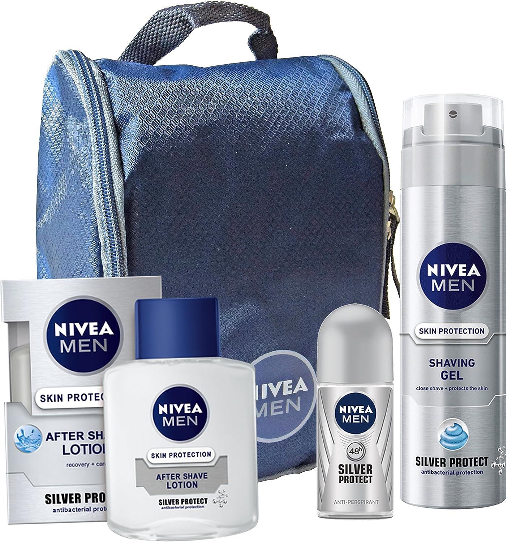 Nivea Silver protect – Conjunto Regalo Para Hombre – Loción para después del afeitado, gel de afeitar, roll-on y neceser: Amazon.es: Belleza