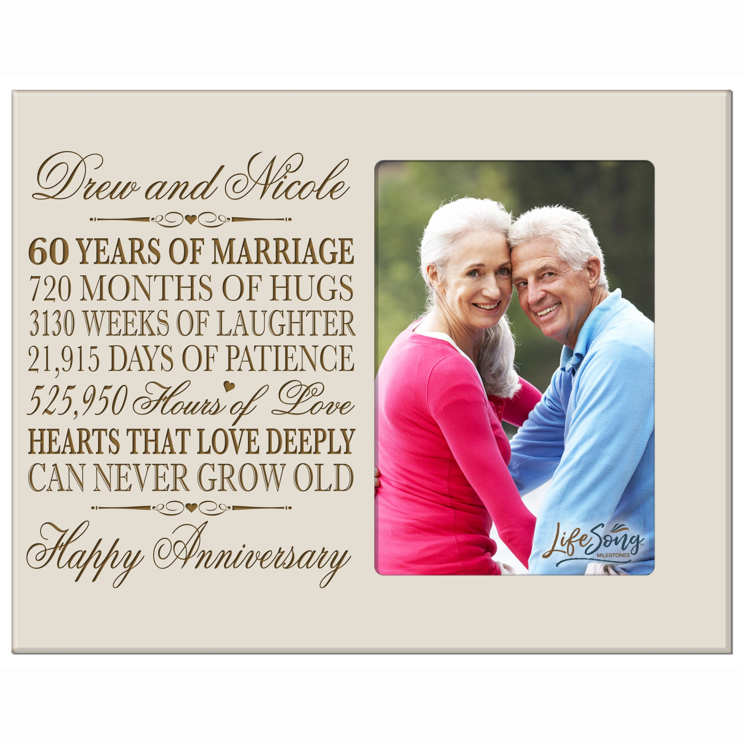 LifeSong Milestones Personalized 60th Year Wedding for Couple Custom Engraved 60th Wedding Frame Holds 1 4x6 Photo 8'' H X 10'' W (Ivory) by LifeSong Milestones